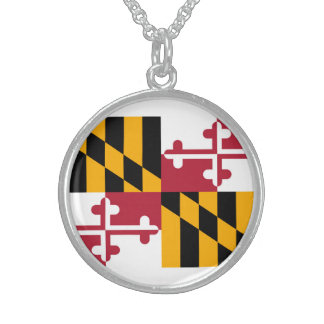 Maryland State Flag Design Round Pendant Necklace