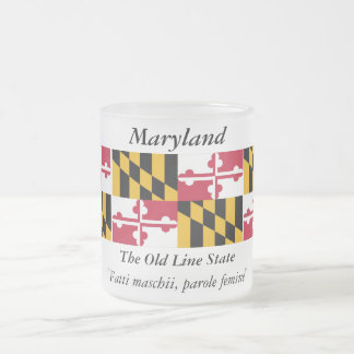 Maryland State Flag Frosted Glass Coffee Mug