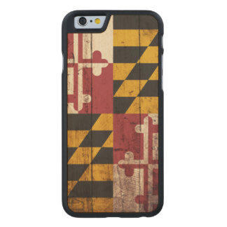 Maryland State Flag on Old Wood Grain Carved Maple iPhone 6 Case