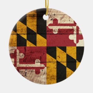 Maryland State Flag on Old Wood Grain Christmas Ornament