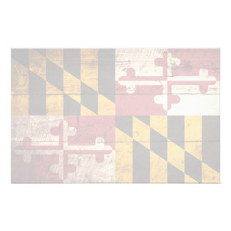 Maryland State Flag on Old Wood Grain Personalized Stationery
