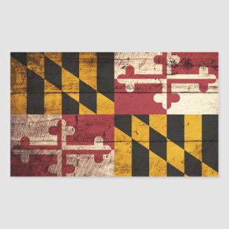 Maryland State Flag on Old Wood Grain Rectangular Sticker