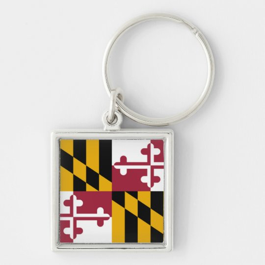 Maryland State Flag Silver-Colored Square Key Ring