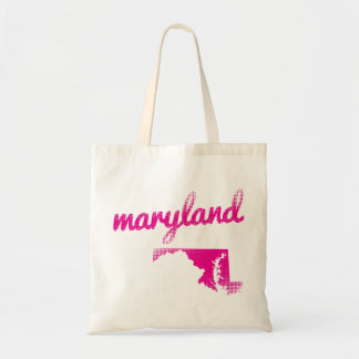Maryland state in pink tote bag