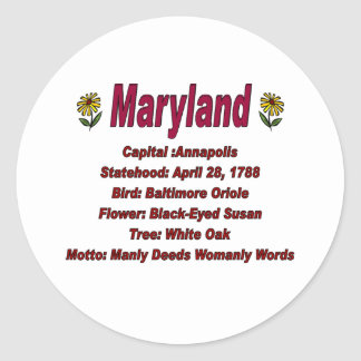 Maryland State Info Sticker