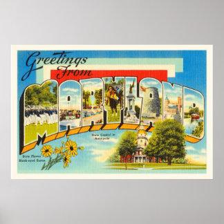 Maryland State MD Old Vintage Travel Postcard- Poster