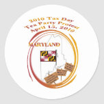 Maryland Tax Day Tea Party Protest Round Sticker