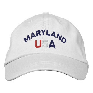 Maryland USA Embroidered White Hat Embroidered Cap
