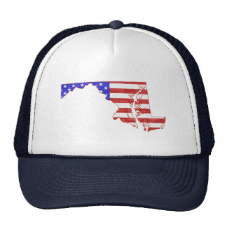 Maryland USA flag silhouette state map Mesh Hat