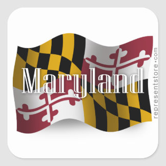 Maryland Waving Flag Square Sticker
