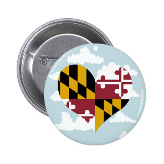 Marylander Flag on a cloudy background 2 Inch Round Button