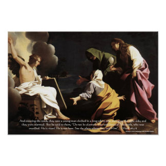 Marys,Jesus Tomb, He is Risen Bible Verse Artwork Poster
