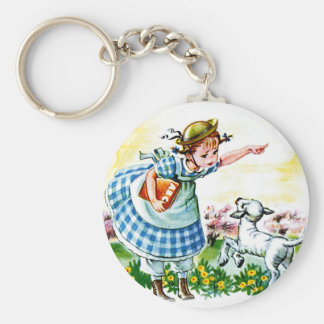 Mary's Lamb Basic Round Button Key Ring