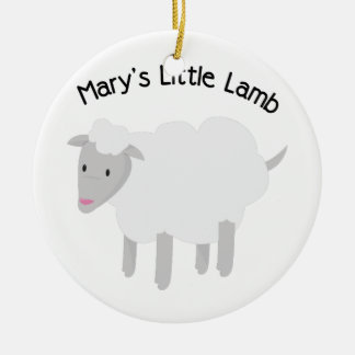 Mary's Little Lamb Round Ceramic Decoration