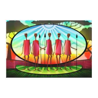 Masai Men With Spears Gallery Wrapped Canvas