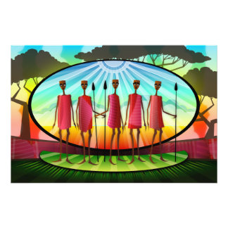 Masai Men WIth Spears Photographic Print