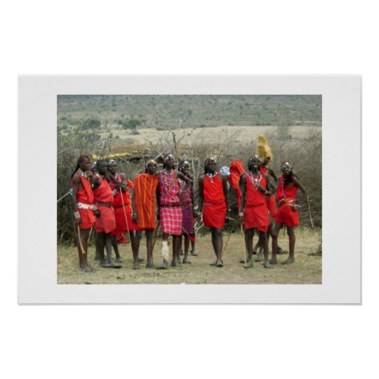 MASAI WARRIORS IN KENYA AFRICA POSTER