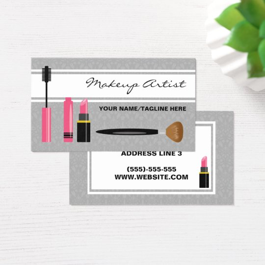 Mascara Lipstick And Brush Makeup Artist Business Card