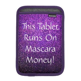 mascara money tablet case presenter purple glitter sleeve for iPad mini