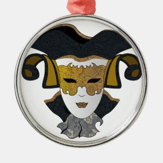 Maschera-Veneziana Silver-Colored Round Decoration