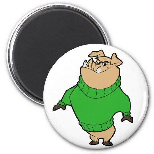 Mascot - Hog Green Magnet