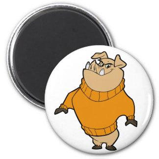 Mascot - Hog Orange 6 Cm Round Magnet