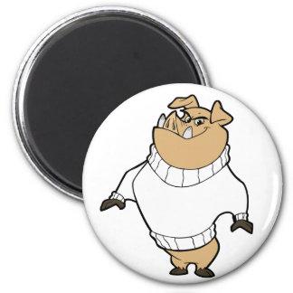 Mascot - Hog White Magnets