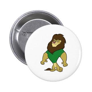 Mascot - Lion Green 6 Cm Round Badge