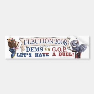 Mascot Political Duel Election 2008 bumper Car Bumper Sticker