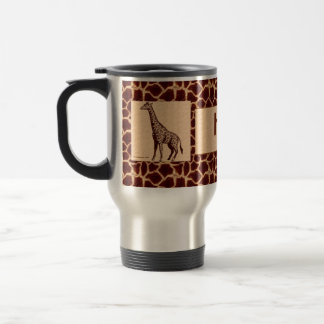 Masculine and Wild Giraffe with Name Travel Mug