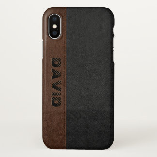 Masculine Black & Brown Vintage Stitched Leather iPhone X Case