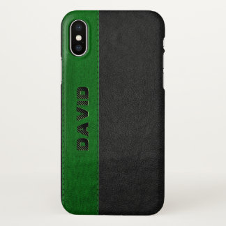 Masculine Black & Green Vintage Faux Leather iPhone X Case