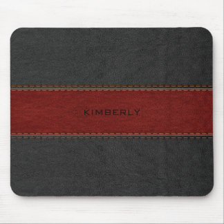Masculine Black & Red Leather Mouse Mat