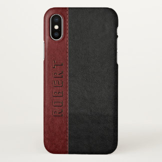Masculine Black & Red Vintage Stitched Leather iPhone X Case