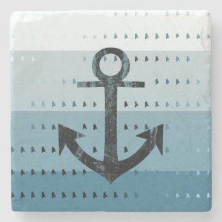 Masculine Blue Anchor Nautical Pattern Design Stone Beverage Coaster