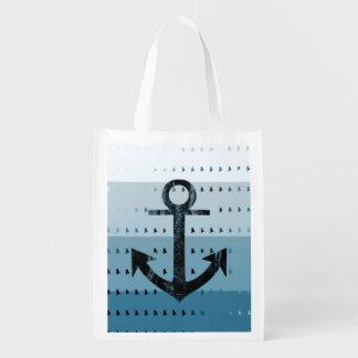 Masculine Blue Anchor Nautical Pattern Design Reusable Grocery Bag