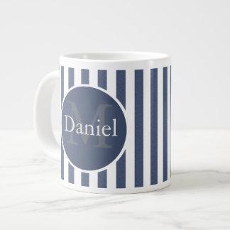 Masculine Blue Striped Personalized Monogrammed Jumbo Mug
