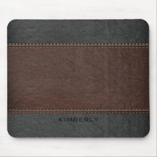 Masculine Brown And Black Leather Mouse Mat