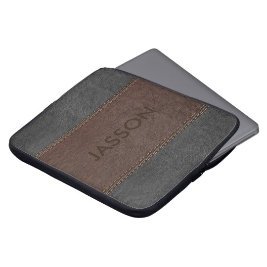 Masculine Brown And Grey Leather Laptop Sleeve