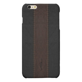 Masculine Brown & Black Stitched Leather Texture iPhone 6 Plus Case