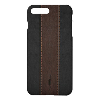 Masculine Brown & Black Stitched Leather Texture iPhone 7 Plus Case