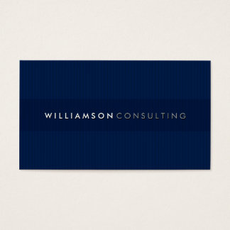 MASCULINE BUSINESS CARD simple pinstripe 3D navy