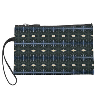 Masculine Charcoal Gray Peach Tribal Pattern Wristlet