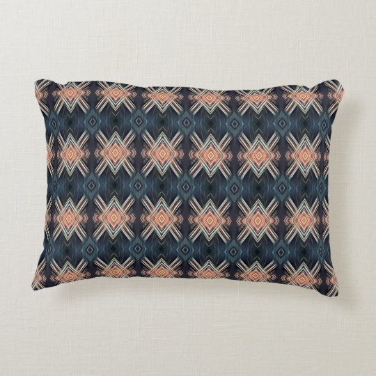 Masculine Charcoal Grey Peach Tribal Pattern Decorative Cushion