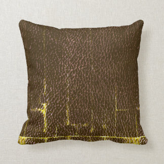 Masculine Distressed Leather Throw Pillow, Brown Throw Pillow