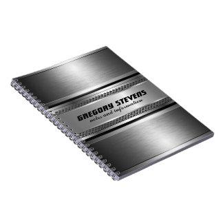 Masculine Faux Silver Stripes Design Monogramed Spiral Notebook