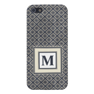 Masculine Geometric Squares Pattern Blue and Beige Case For iPhone 5/5S
