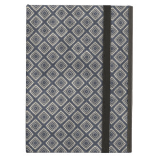 Masculine Geometric Squares Pattern Blue and Beige iPad Air Case
