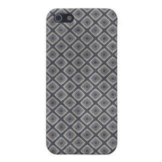 Masculine Geometric Squares Pattern Blue and Beige iPhone 5 Case