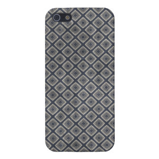 Masculine Geometric Squares Pattern Blue and Beige iPhone 5 Cover